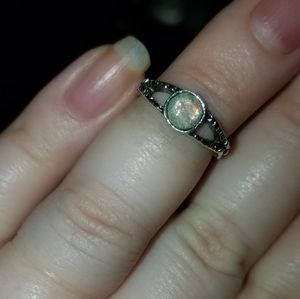 Size 2/3 silver opal ring